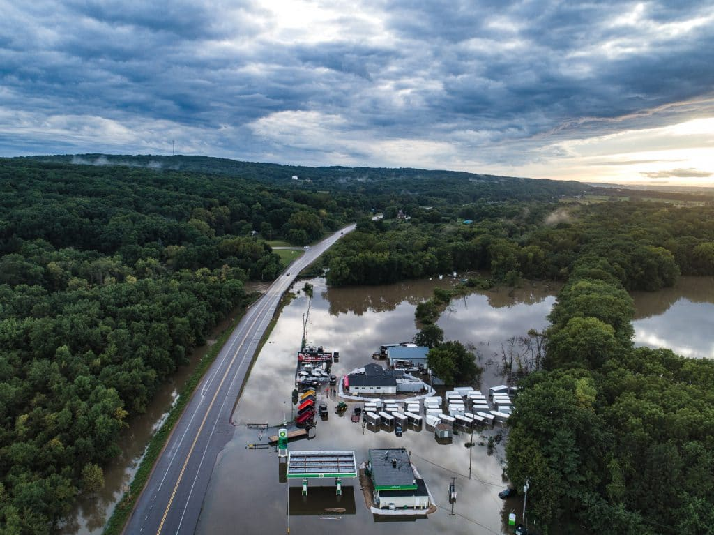 Flooded Highway 33 in Portage Wisconsin