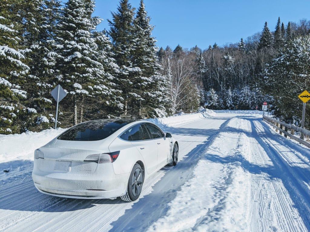 Tesla Model 3 at Mont-Tremblant National Park