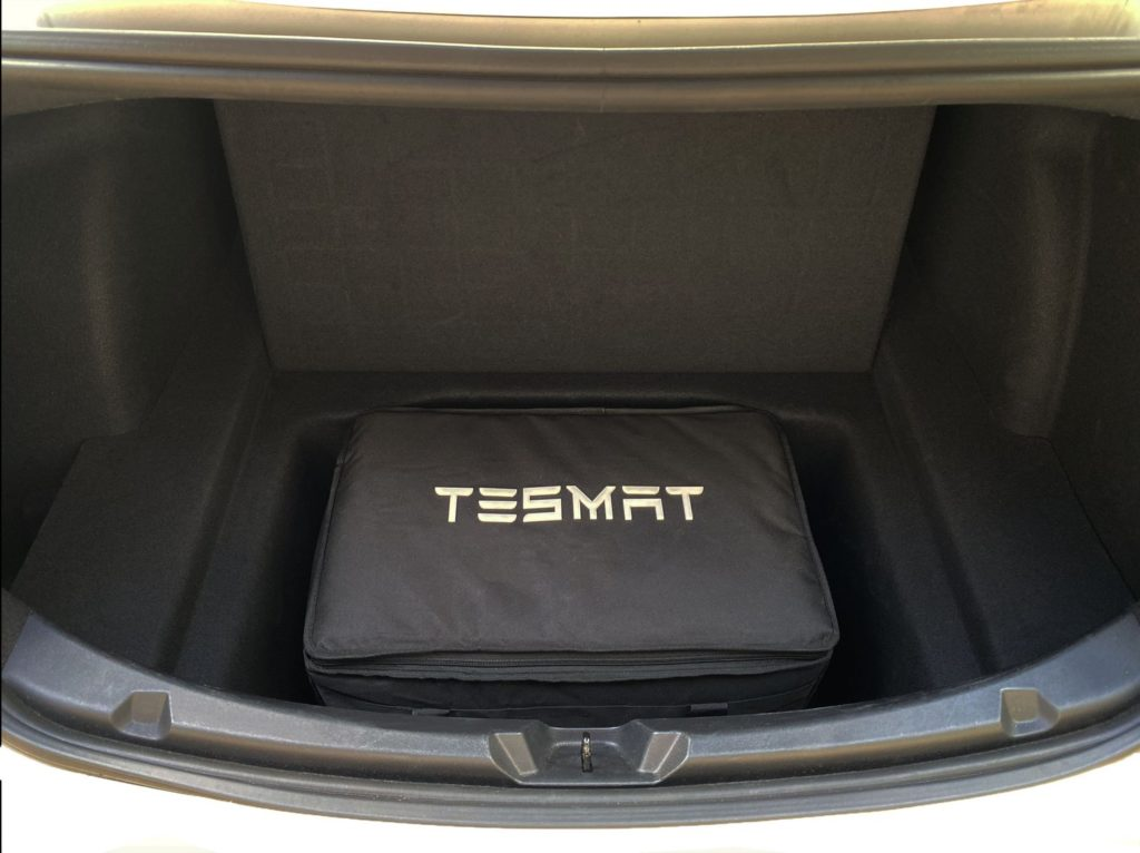 Tesmat in the back of the sub-trunk of a Tesla Model 3