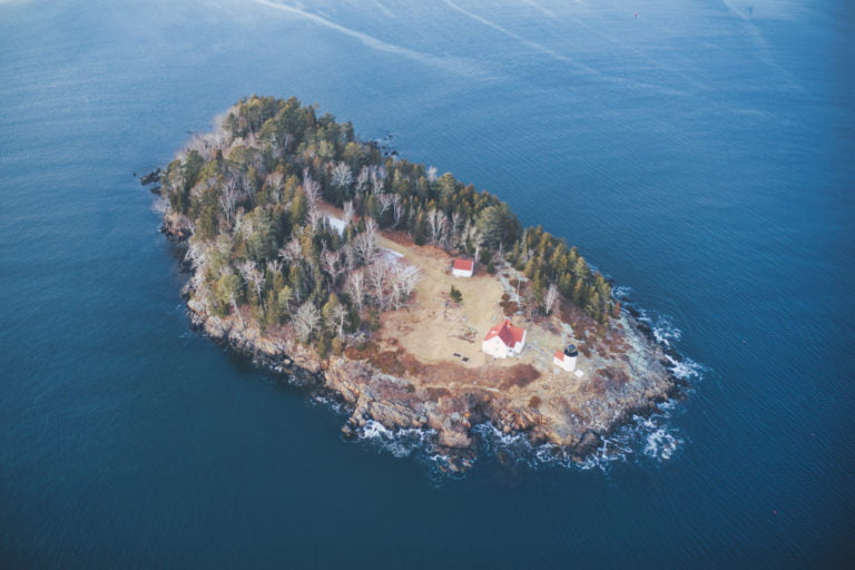 View of Maine Lighthouse on an Island