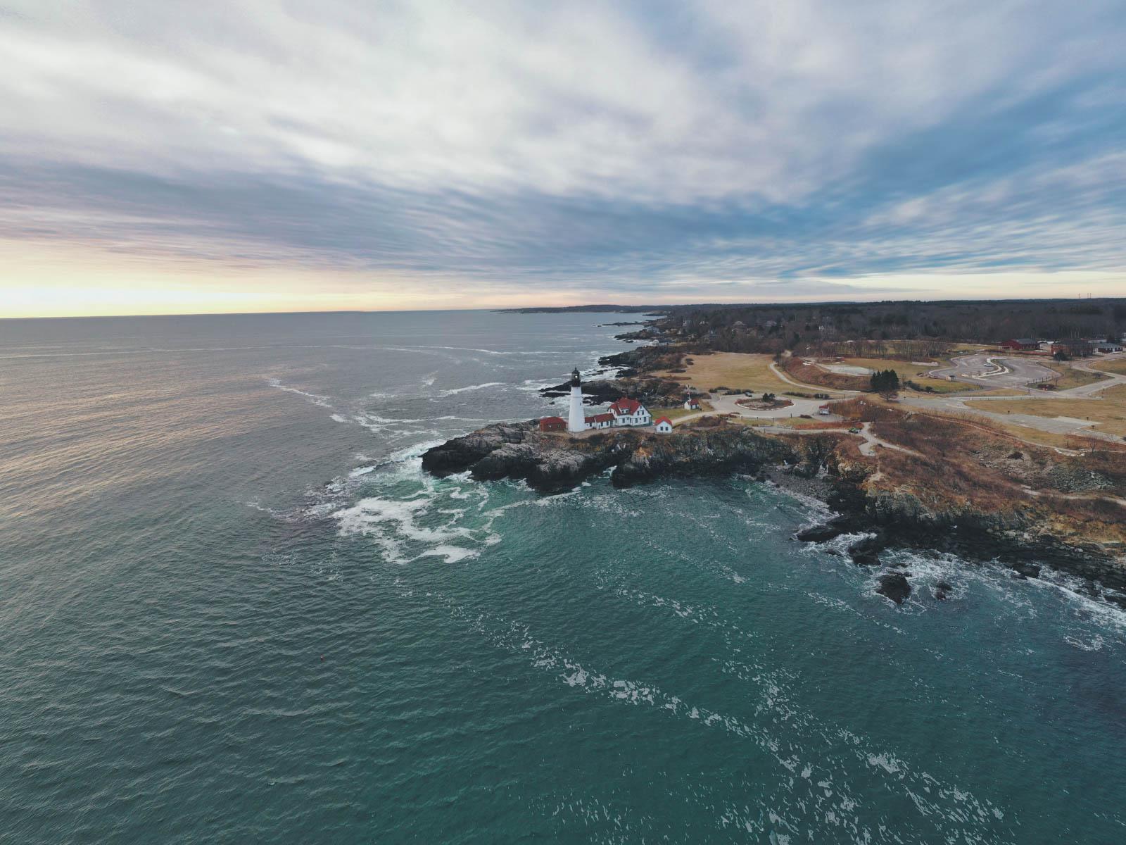 Aerial View of Maine Coastline