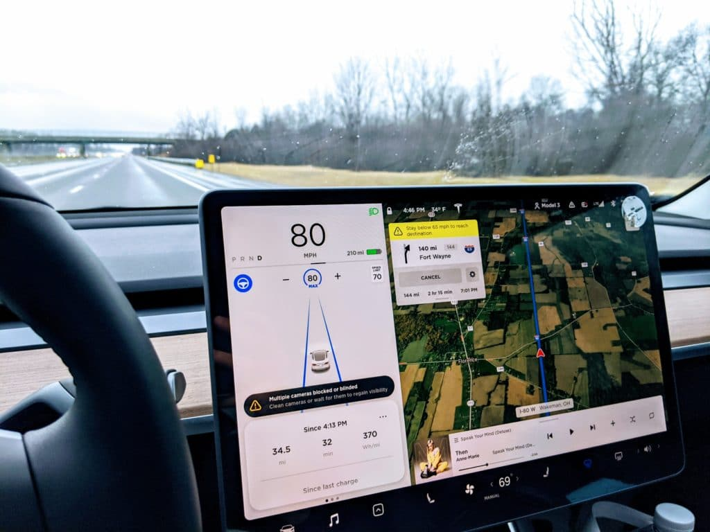 Tesla Navigation Warning Message
