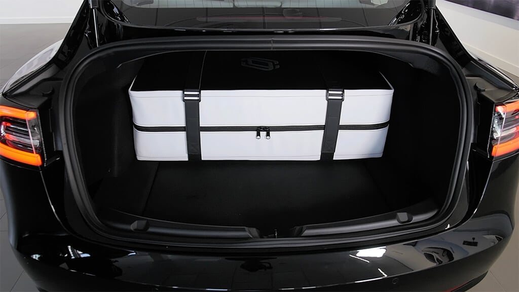 Dreamcase in the back of the trunk of a Tesla Model 3