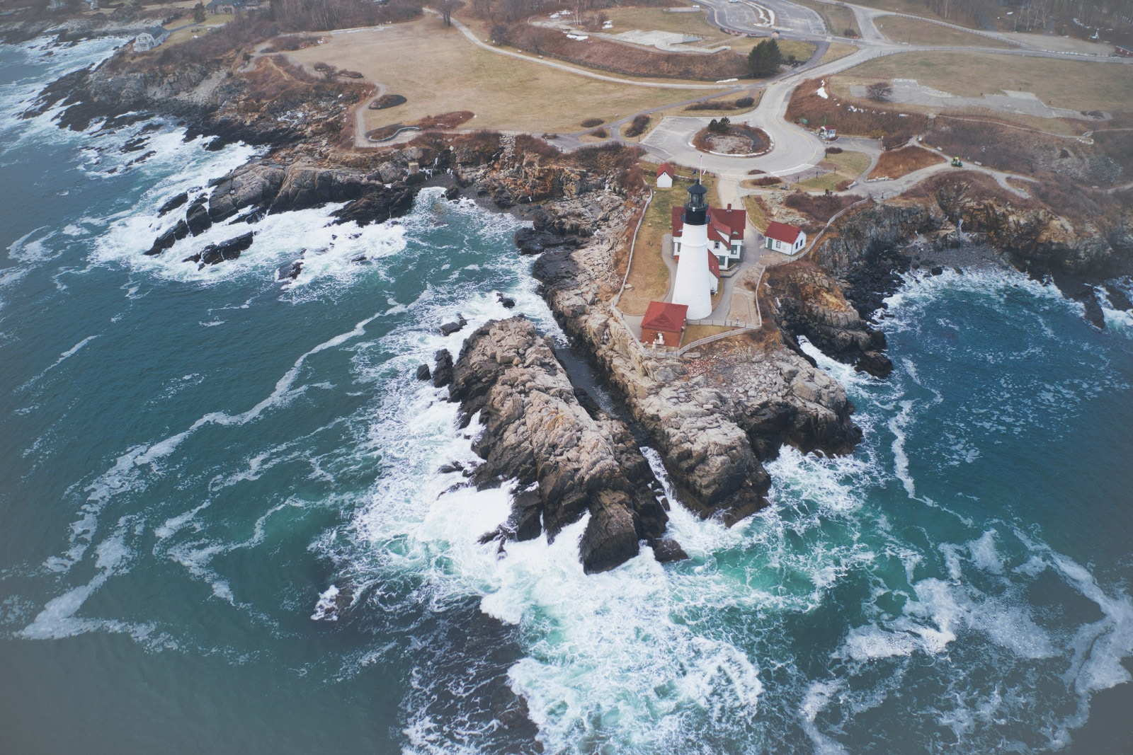 Aerial View of Maine Lighthouse