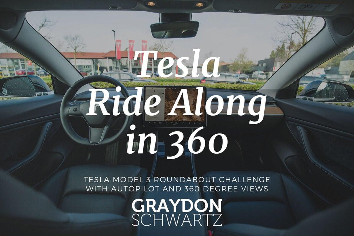 Desafío de rotondas del Tesla Model 3 con piloto automático y vistas de 360 grados