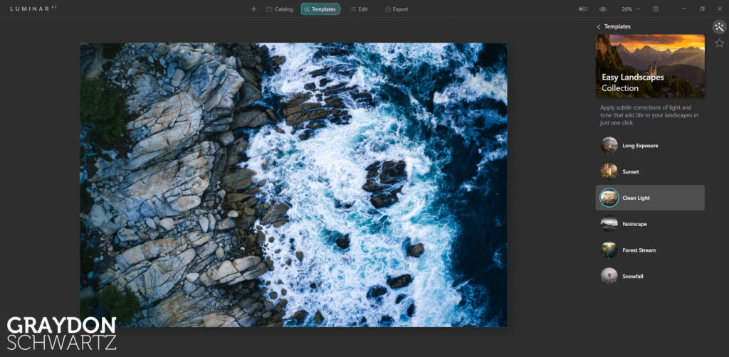 First Look at Easy Landscapes Collection Within Luminar AI Photo Editor 3