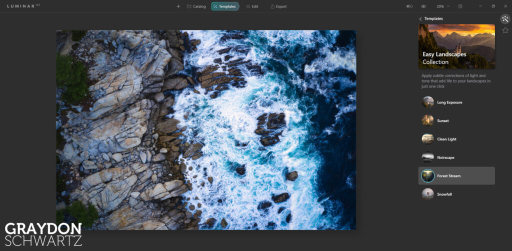 First Look at Easy Landscapes Collection Within Luminar AI Photo Editor 5