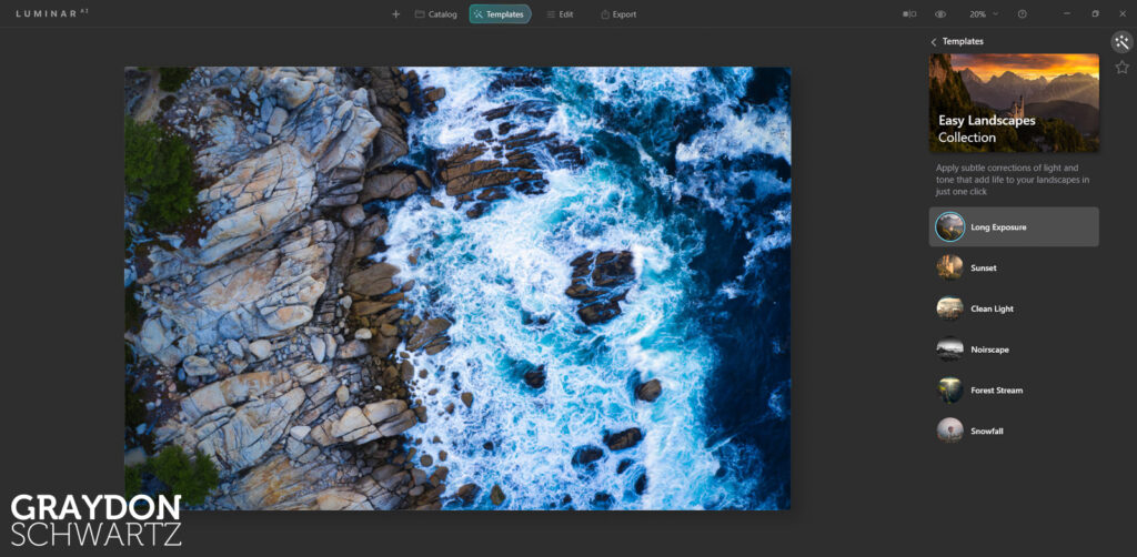 First Look at Easy Landscapes Collection Within Luminar AI Photo Editor 1