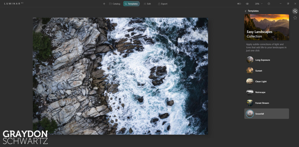 First Look at Easy Landscapes Collection Within Luminar AI Photo Editor 6