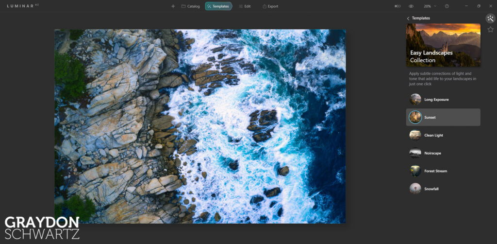 First Look at Easy Landscapes Collection Within Luminar AI Photo Editor 2
