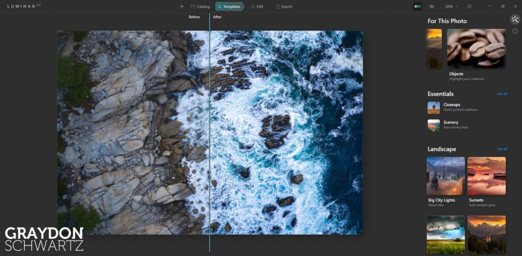First Look at Easy Landscapes Collection Within Luminar AI Photo Editor 9