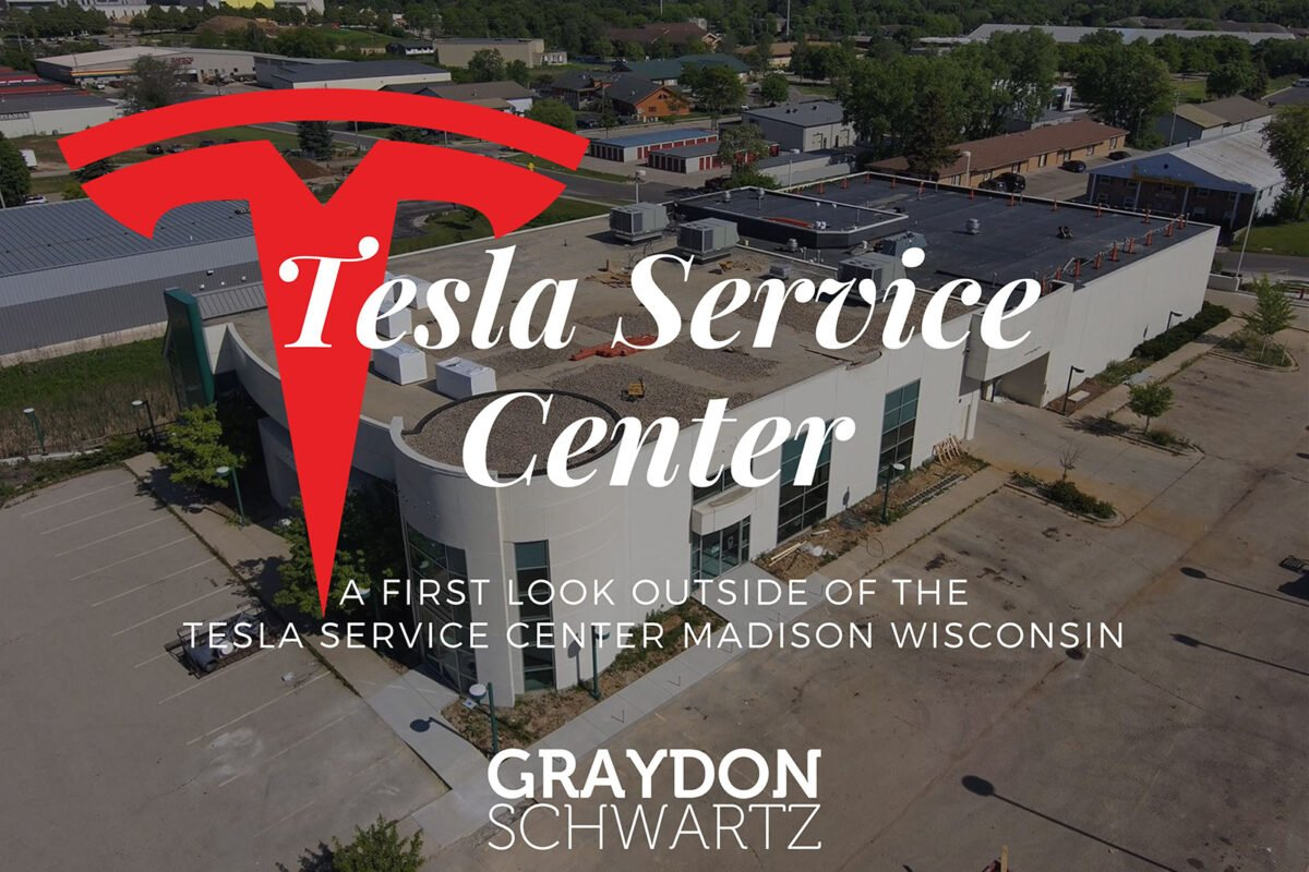 A First Look Outside of the Tesla Service Center Madison Wisconsin