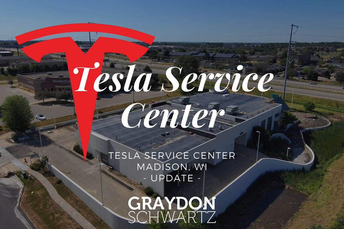Another Look Outside of the Tesla Service Center Madison Wisconsin