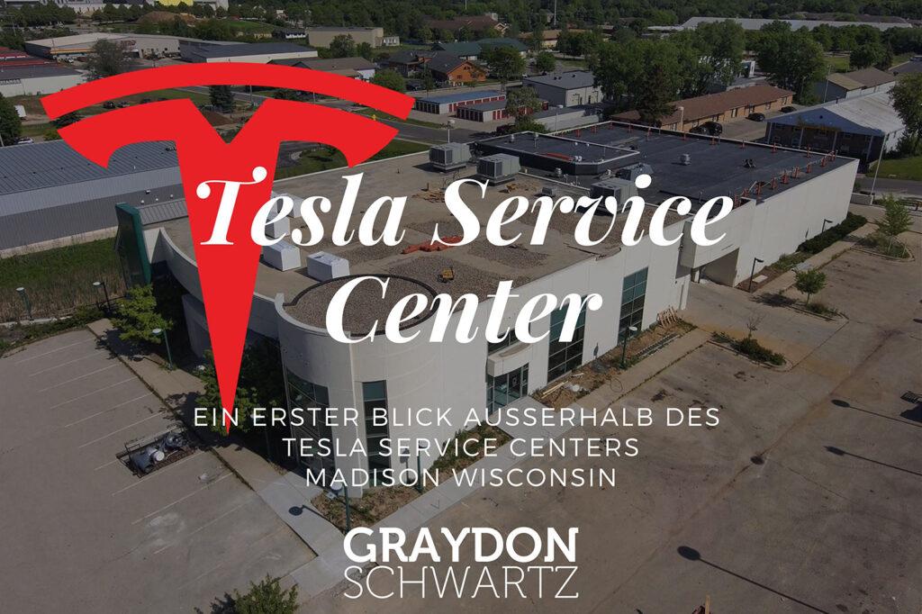 Ein erster Blick außerhalb des Tesla Service Centers Madison Wisconsin