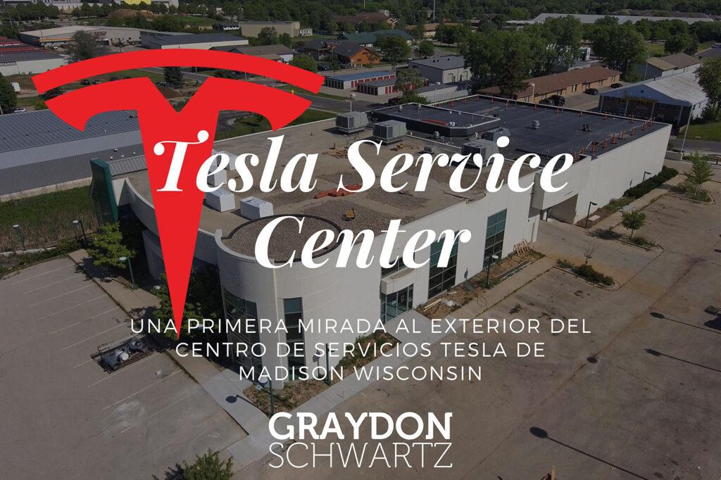 Una primera mirada al exterior del Centro de Servicios Tesla de Madison Wisconsin