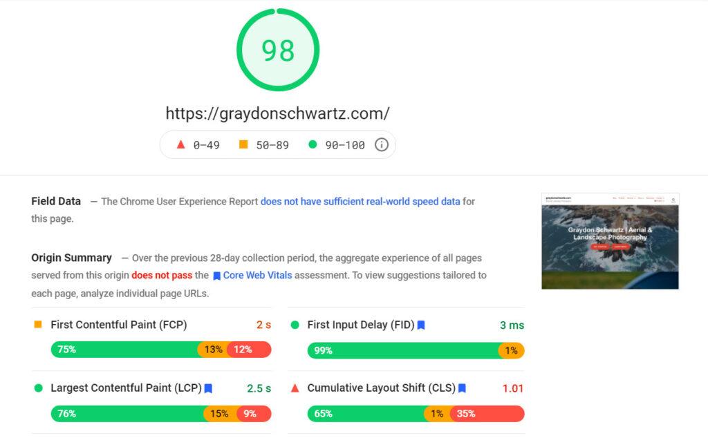 google page speed 98 gsp desktop | graydonschwartz.com